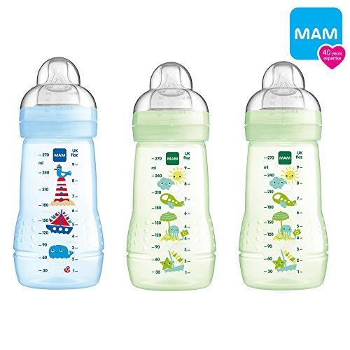 3 x MAM Easy Active Baby Bottle Flaschen Set 270 /& 330 ml mit Seidensauger *NEU*
