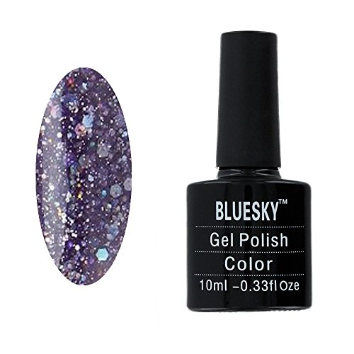 Bluesky-Smalto Gel UV LED Gel Smalto Viola Ametista, diamante glitter 10ml