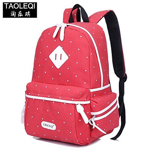 Trend di moda a doppia tela borsa a tracolla versione coreana punto d'onda maschio e femmina collegio degli studenti il vento zainetto viaggi, profondo blu Red