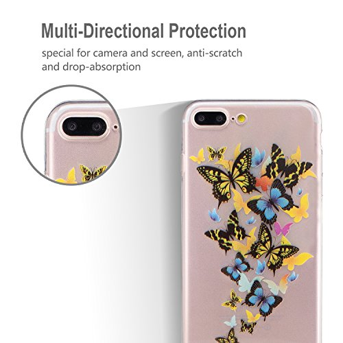 iphone 7 Plus Hülle, E-Lush TPU Soft Silikon Tasche Transparent Schale Clear Klar Hanytasche für iphone 7 Plus (5.5 Zoll) Durchsichtig Rückschale Ultra Slim Thin Dünne Schutzhülle Weiche Flexibel Hand Schmetterling