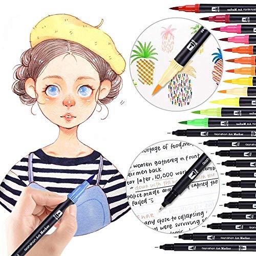 lor Gel Ink Pens, das beste Gel-Set für Erwachsene zum Ausmalen, Zeichnen und Schreiben, mit 1,0 mm Spitzenbereich (12 Metallic + 12 Glitter + 12 Neon + 12 WaterChalk) (#1) ()