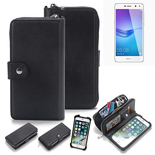 K-S-Trade 2in1 Handyhülle für Huawei Y6 (2017) Single SIM Schutzhülle & Portemonnee Schutzhülle Tasche Handytasche Case Etui Geldbörse Wallet Bookstyle Hülle schwarz (1x)