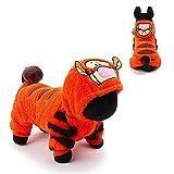 AOKDOOR Neue Ankunft Warm Wind Tuch Hundekoro Fleece Tiger Stil Groß und Kleidung Pet Minion Kostüm Produkte Mit Hut (S)