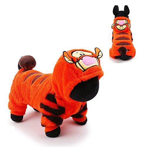 Warm Wind Tuch Hundekoro Fleece Tiger Stil Groß und Kleidung Pet Minion Kostüm Produkte Mit Hut (L) (Hund Minion Kostüm Uk)