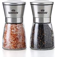 Rummershof Salz und Pfeffer Mühle Set - 2 Design Pfeffermühlen aus Edelstahl mit Keramikmahlwerk