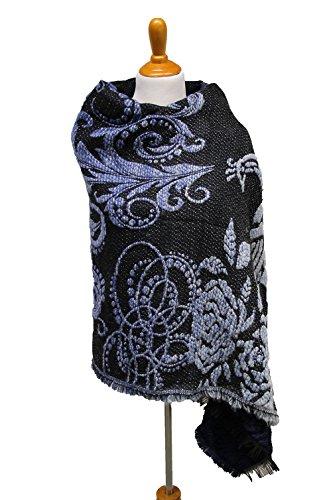 DesiDo® XXL Damen oversize Schal mit Ornamenten florales Muster Blumenmuster Tuch Decke Halstuch Wolle Pashmina Poncho orientalisches Design Muster Größe 190cm x 70cm Farbe braun blau (blau)