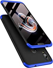 TheGiftKart Full Body 3-In-1 Slim Fit Complete 3D 360 Degree Protection Hybrid Hard Bumper Back Case Cover For Vivo V9 / V9 Youth (Black & Blue)