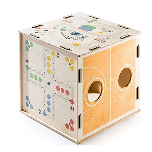 Kids Qube / Spielewürfel, 6 Spiele / Birkenholz