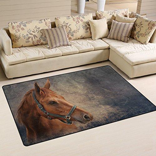 Use7 Anti-Rutsch-Fußmatte mit rotem Pferd, für Kinderzimmer, Wohnzimmer, Schlafzimmer, Textil, Mehrfarbig, 50 x 80 cm(1.7' x 2.6' ft)