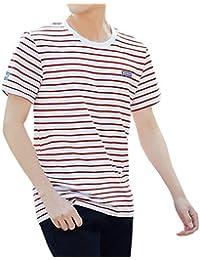 Fräulein Fox Verano Hombres Casual Cuello Redondo Manga Corta tee Camisas Moda Slim Rayas Tops T