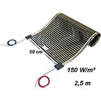 Calorique láminas de calefacción por infrarrojos, calefacción por suelo radiante 50cm Set 150W/M²/ longitud 1 - 8m, 230.00 voltsV