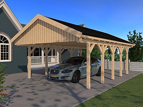 Carport Satteldach LE Mans VI 500cm x 800cm KVH Bausatz Konstruktionsvollholz Fichte