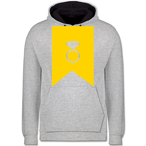 Symbole - Ring Brilliant - Kontrast Hoodie Grau meliert/Dunkelblau