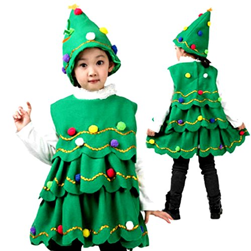 Fancy Steps Christmas Tree Fancy Dress Costume Christmas Party Clothes for School Competition, 6 to 8 Years, Green