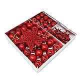 ToCi 45-teiliges Christbaumschmuck Set Baumschmuck Rot mit Weihnachtskugeln Christbaumspitze Sternen Perlenkette Weihnachten Deko Anhänger