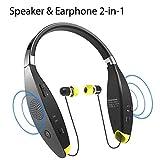 Avantree Portables Wireless Um Den Hals Wearable Halsband Lautsprecher, Faltbares Bluetooth Nackenbügel Kopfhörer, Nackenband Ohrhörer mit Abnehmbaren Ohrstöpsel und Mikrofon [2 Jahre Garantie]