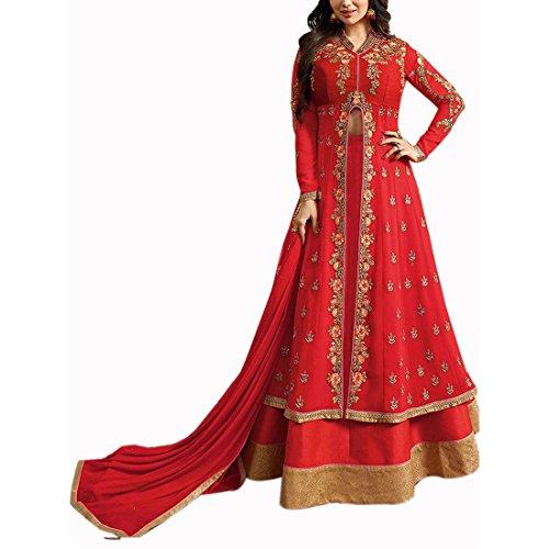 Salwar Soul Women's Georgette Semi Stitch Lehenga Choli (Salwar_ss106135_Red_Free Size)
