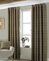 "Tartan Check Woven Wool Look Green Lined 66"" X 54"" - 168cm X 137cm Ring Top Curtains from Curtains"