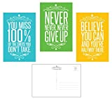 célèbre Citation Motivation (lot de 30) Typographiques Cartes Postales (10,2x 15,2cm). brillant 14pt. UV avant revêtu. Fabriqué aux États-Unis. 3designs, 10de chaque....