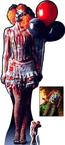 (Gruseliger Weiblicher Clown Halloween Lebensgrosse und klein Pappfiguren / Stehplatzinhaber / Aufsteller - Enthält 8X10 (25X20Cm) starfoto)