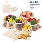 Obst- und Gemüsebeutel mit Griff Design Einkaufstaschen mit Brotbeutel aus Baumwolle Wiederverwendbare Einkaufsnetze Plastikfreie Gemüsenetze 6er SET aus 1x S, 2x M, 2x L, 1x Stoffbeutel