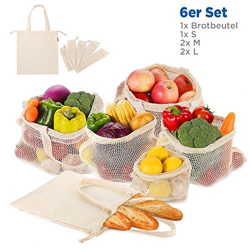 Wiederverwendbare Obst- und Gemüsebeutel Einkaufstaschen mit Brotbeutel aus Baumwolle Plastikfreie Einkaufsnetze mit Griff Design Gemüsenetze 6er SET aus 1x S, 2x M, 2x L, 1x Stoffbeutel (Gemüse Bio-obst Und)