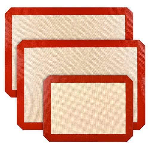 Lot de 3 tapis de cuisson en silicone antidérapants, lavables, réutilisables, résistants à la chaleur, qualité alimentaire, marron et rouge
