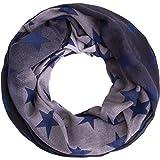 Compagno Stern Loop-Schal mit großen und kleinen Sternen Schlauchschal, SCHAL Farbe:Verlauf Schwarz-Grau