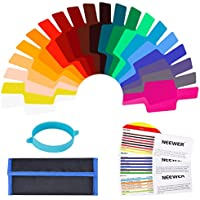 Neewer Universal cámara Flash Kit de iluminación de Balance de corrección de Color Geles Transparente con Banda de fijación para Photo Studio Strobe luz de Flash (20Piezas)