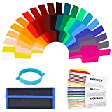 #9: Neewer Universal Camera Flash Gels Transparent Color Correction Balance Lighting Filter Kit with Attachment Band for Photo Studio Strobe Flash Light (20 Pieces)