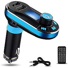 Reproductor de MP3 Bluetooth para el Coche Yokkao® Transmisor FM Mando a Distancia, Manos Libres Tarjeta de memoria SD/ Pen Drive/ AUX/ Radio FM Dos puertos USB para Cargar Dispositivos Smartphone/iPhone/Samsung y otros (Azul)