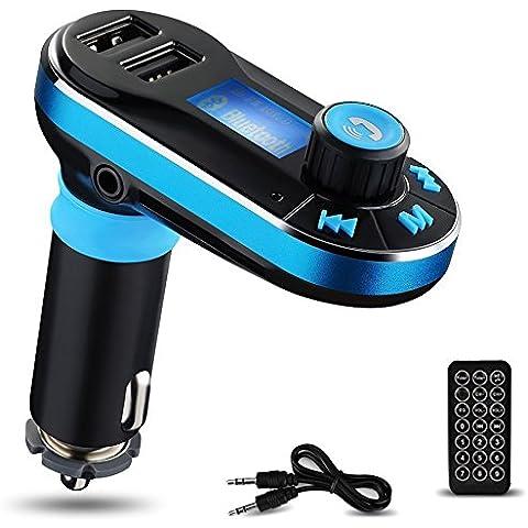 Reproductor de MP3 Bluetooth para el Coche Yokkao® Transmisor FM Mando a Distancia, Manos Libres Tarjeta de memoria SD/ Pen Drive/ AUX/ Radio FM Dos puertos USB para Cargar Dispositivos Smartphone/iPhone/Samsung y otros