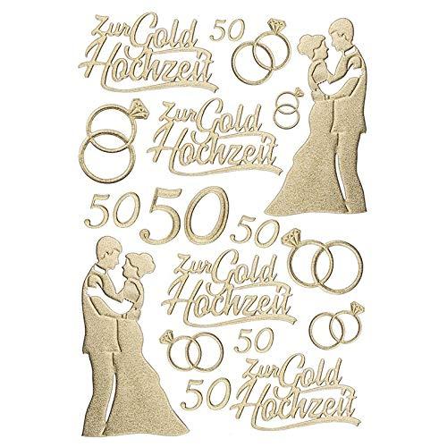 Ideen mit Herz 3-D Sticker Deluxe, zur Hochzeit, Verschiedene Hochzeitsmotive, erhabene Aufkleber, Bogengröße: 21 x 30 cm (Goldhochzeit)