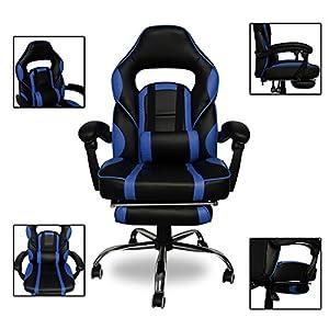 51iLmCx5yrL. SS300  - HG-Office-Silla-giratoria-Silla-para-juegos-Premium-Comfort-Apoyabrazos-acolchados-Silla-de-carreras-Capacidad-de-carga-200-kg-Altura-ajustable-negro-azul