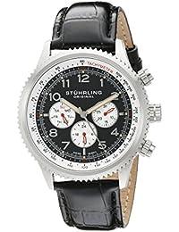 Stührling Original 858L.01 - Reloj analógico para hombre, correa de cuero, color negro