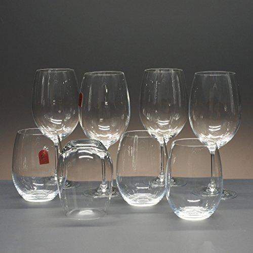 la galaica Set/Étui de 4 Verres Bas de Verre pour à Whisky ou à Eau + 4 Coupes en Verre pour à vin ou à Eau, Collection CRISTALLIN.