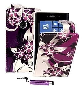 Connect Zone® Purple Flower Flip Case For Nokia Lumia 520 + Screen Protector & Mini Stylus