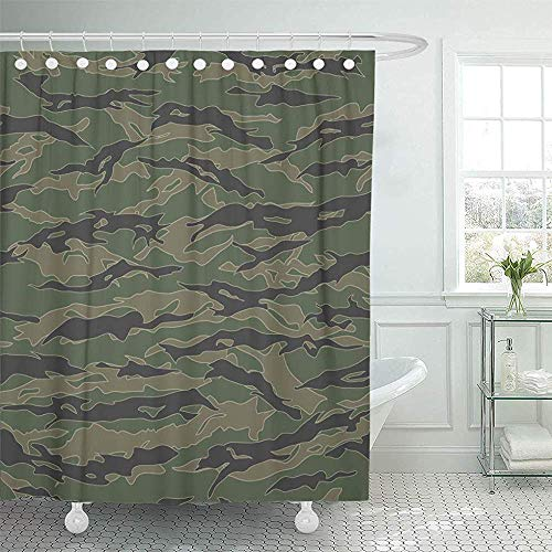 Air Force Tiger Stripe (LINGJIE Duschvorhang 60X72 inch Shower Curtain Waterproof Green Camo Classic Tiger Stripe Camouflage Patterns Khaki Airforce Army Paintball Home Decor Polyester Fabric Adjustable Hooks Set)