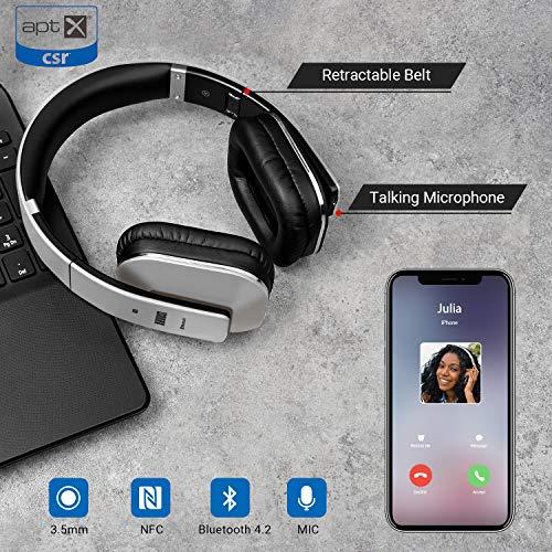 August EP650 Bluetooth v4.2 NFC Kopfhörer mit aptX Low Latency – Kabellose Over-Ear Headphones mit individuellem Sound (silber) - 5