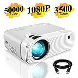 Mini Vidéoprojecteur, ELEPHAS 3500 Lumens Projecteur Portable Soutien 1080P Rétroprojecteur Compatible USB/HD/SD/AV/VGA pour Home Cinéma, Durée de Vie Jusqu'à 50000 Heures, Blanc.