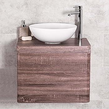 Badezimmer 600 Waschtisch Unterschrank Eiche Wandhängend U0026 Aufsatz  Waschbecken