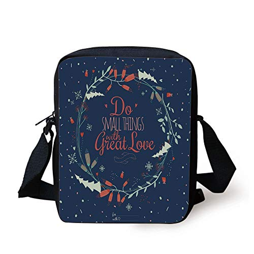 Quote,Romantic Floral Wreath with Laurel Leaves Loving Wishes Calligraphy Vintage Decorative,Navy Mint Green Red Print Kids Crossbody Messenger Bag Purse