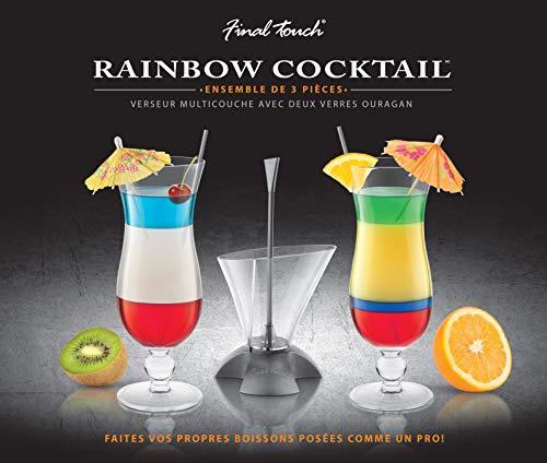 Final Touch Cocktail-Set, 3-teilig, mit Rainbow-Cocktail-Schichthilfe und 2 Hurricane-Gläsern, in Geschenkbox, für mehrlagige Getränke, CD3163