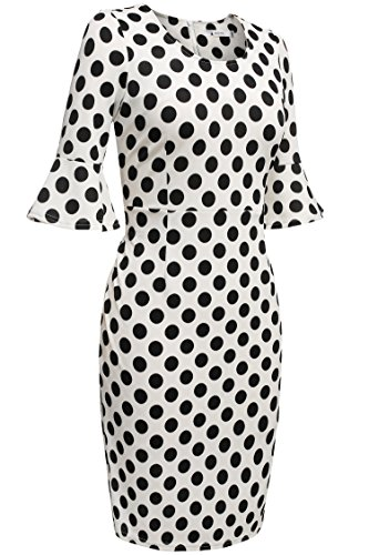 Damen Polka Dots Kleid Pencil Bleistift Kleid Cocktail Abendkleid knielang Ärmel - 2