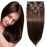 Echthaar Clip in Extensions Remy Haarverlängerung für komplette Haare 8 Tressen Doppelt Dicke 45cm-140g(#2 Dunkelbraun)