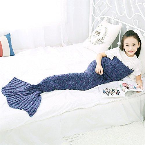 """Meerjungfrau Decke Handgemachte häkeln meerjungfrau flosse decke für Kinder, Mermaid Blanket alle Jahreszeiten Schlafsack (kinder(55.1""""x27.6""""), lila)"""
