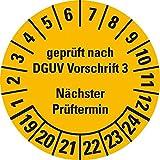 LEMAX® Prüfplakette Geprüft DGUV Vorschrift 3 NP 19-24,gelb,Dokufolie,Ø 30mm,500/Rolle