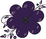 GRAZDesign 800416_BK_040 Wandtattoo Uhr Wanduhr mit Uhrwerk Kinderzimmer Wohnzimmer Blume (66x57cm//040 violett//Uhrwerk schwarz)