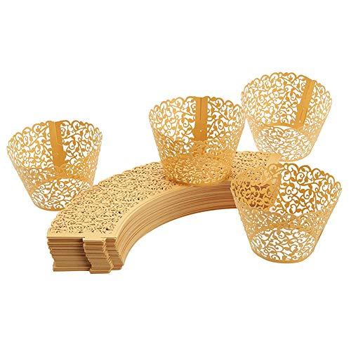 50X Toruiwa Cupcake Wrappers Cupcake Förmen Cupcake Verpackungen Backförmchen Kuchenverpackung für Hochzeit Geburtstagsparty Baby Dusche Dekoration (Gold)