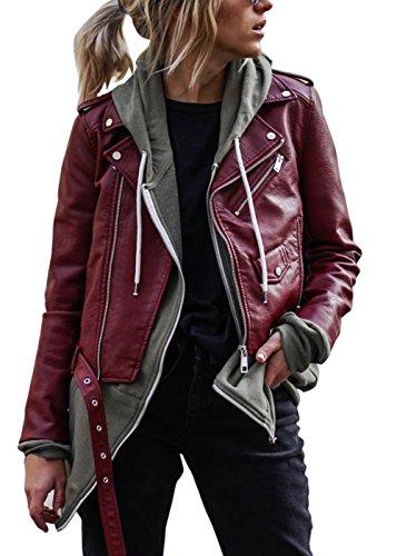 Frauen Biker Jacke Faux Leder Bomber Mantel Motorrad Tops Outwear (Faux-leder-jacke Rot)